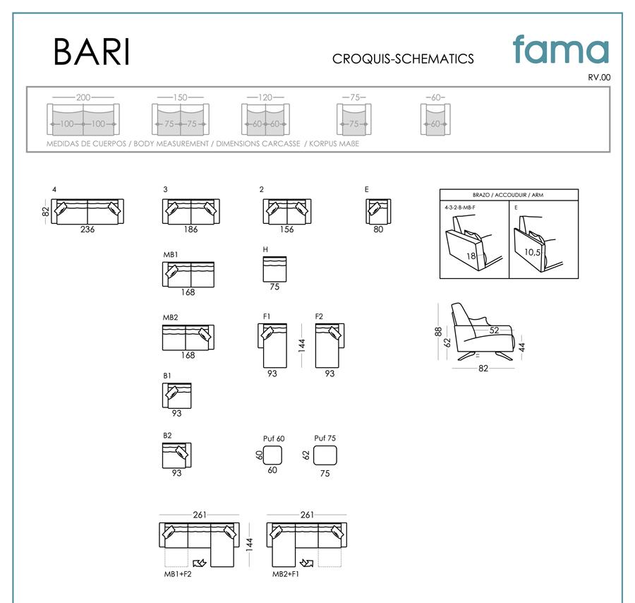 схема диванов и кресел Bari