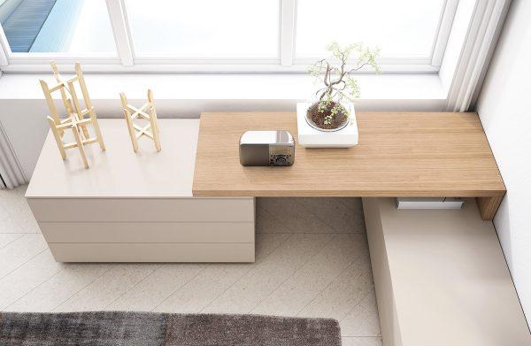 Кровать с тумбами полками и столиком comp-009.